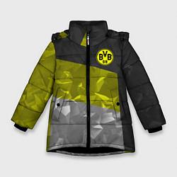 Куртка зимняя для девочки BVB FC: Dark polygons цвета 3D-черный — фото 1