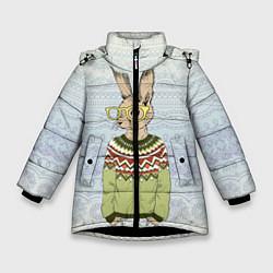 Детская зимняя куртка для девочки с принтом Кролик хипстер, цвет: 3D-черный, артикул: 10139174706065 — фото 1