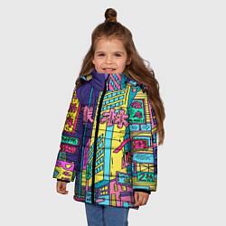 Детская зимняя куртка для девочки с принтом Токио сити, цвет: 3D-черный, артикул: 10139888106065 — фото 2