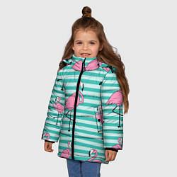 Куртка зимняя для девочки Полосатые фламинго цвета 3D-черный — фото 2
