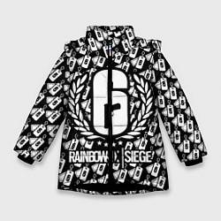 Куртка зимняя для девочки Rainbow Six: Champion White цвета 3D-черный — фото 1