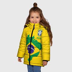 Куртка зимняя для девочки Сборная Бразилии: желтая цвета 3D-черный — фото 2