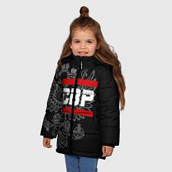 Куртка зимняя для девочки СВР: герб РФ цвета 3D-черный — фото 2