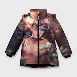 Детская зимняя куртка для девочки с принтом Monsta X: Wonho, цвет: 3D-черный, артикул: 10150035906065 — фото 1
