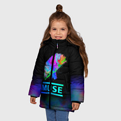 Куртка зимняя для девочки Muse: Neon Flower цвета 3D-черный — фото 2