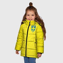Куртка зимняя для девочки Сборная Швеции: Домашняя ЧМ-2018 цвета 3D-черный — фото 2