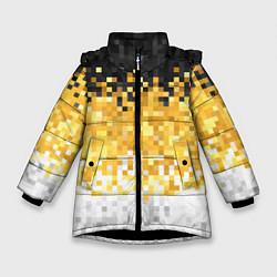 Куртка зимняя для девочки Имперский флаг пикселами цвета 3D-черный — фото 1