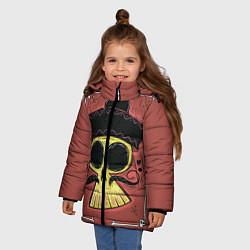 Детская зимняя куртка для девочки с принтом Dia de los Muertos, цвет: 3D-черный, артикул: 10152402306065 — фото 2