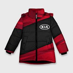 Детская зимняя куртка для девочки с принтом Kia: Red Sport, цвет: 3D-черный, артикул: 10152996306065 — фото 1