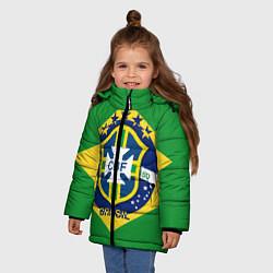 Детская зимняя куртка для девочки с принтом CBF Brazil, цвет: 3D-черный, артикул: 10153088306065 — фото 2