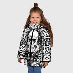 Куртка зимняя для девочки Grunge Skull цвета 3D-черный — фото 2
