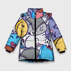 Куртка зимняя для девочки Влюбленный енот цвета 3D-черный — фото 1