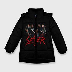 Детская зимняя куртка для девочки с принтом Slayer Band, цвет: 3D-черный, артикул: 10156552506065 — фото 1
