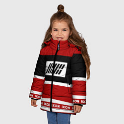 Куртка зимняя для девочки IKON Stripes цвета 3D-черный — фото 2