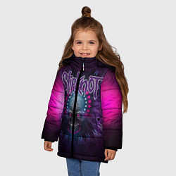 Куртка зимняя для девочки Slipknot: Neon Skull цвета 3D-черный — фото 2