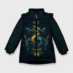 Куртка зимняя для девочки Череп и золотой якорь цвета 3D-черный — фото 1
