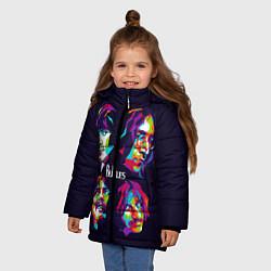 Куртка зимняя для девочки The Beatles: Art Faces цвета 3D-черный — фото 2