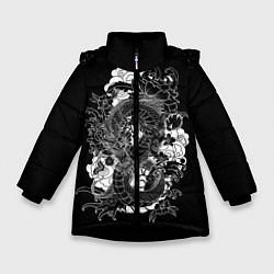 Детская зимняя куртка для девочки с принтом Японский дракон, цвет: 3D-черный, артикул: 10173336906065 — фото 1