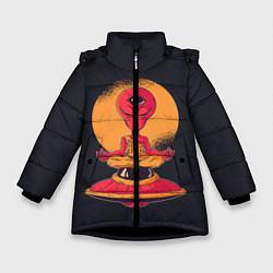 Куртка зимняя для девочки Пришелец-медитатор цвета 3D-черный — фото 1