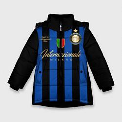 Детская зимняя куртка для девочки с принтом Internazionale Milano, цвет: 3D-черный, артикул: 10174520506065 — фото 1