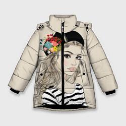 Куртка зимняя для девочки Парижанка в берете цвета 3D-черный — фото 1