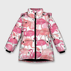 Куртка зимняя для девочки Рай фламинго цвета 3D-черный — фото 1