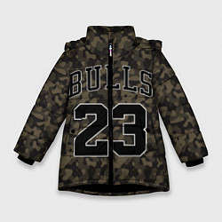 Куртка зимняя для девочки Chicago Bulls 23: Khaki Camo цвета 3D-черный — фото 1