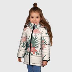 Куртка зимняя для девочки Розовый фламинго и цветы цвета 3D-черный — фото 2