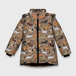 Куртка зимняя для девочки Кони-лошади цвета 3D-черный — фото 1