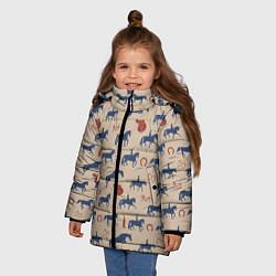 Куртка зимняя для девочки Кони цвета 3D-черный — фото 2