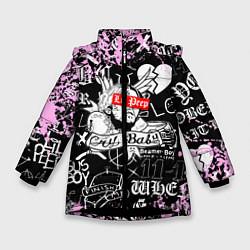 Куртка зимняя для девочки LIL PEEP цвета 3D-черный — фото 1