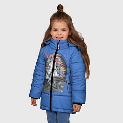 Куртка зимняя для девочки Единорог Rock цвета 3D-черный — фото 2