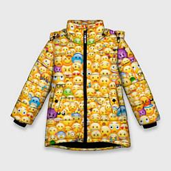 Куртка зимняя для девочки Смайлики Emoji цвета 3D-черный — фото 1