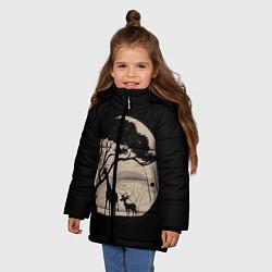 Куртка зимняя для девочки Жираф цвета 3D-черный — фото 2