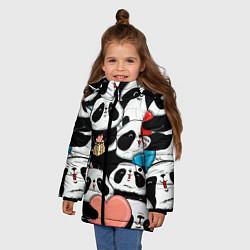 Куртка зимняя для девочки Панды цвета 3D-черный — фото 2