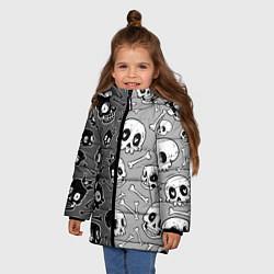 Куртка зимняя для девочки Черепа цвета 3D-черный — фото 2