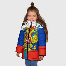Куртка зимняя для девочки Герб России цвета 3D-черный — фото 2