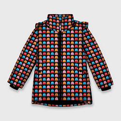 Детская зимняя куртка для девочки с принтом Pacman, цвет: 3D-черный, артикул: 10221375506065 — фото 1