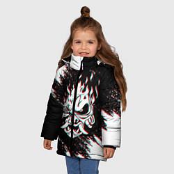 Детская зимняя куртка для девочки с принтом CYBERPUNK 2077 SAMURAI GLITCH, цвет: 3D-черный, артикул: 10237615306065 — фото 2