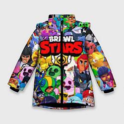 Куртка зимняя для девочки BRAWL STARS ВСЕ БРАВЛЕРЫ цвета 3D-черный — фото 1