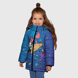 Детская зимняя куртка для девочки с принтом Минни Маус на пицце, цвет: 3D-черный, артикул: 10250061306065 — фото 2