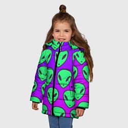 Куртка зимняя для девочки ALIENS цвета 3D-черный — фото 2