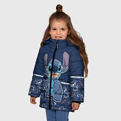 Куртка зимняя для девочки Стич цвета 3D-черный — фото 2