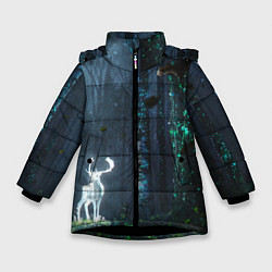 Куртка зимняя для девочки Олень цвета 3D-черный — фото 1