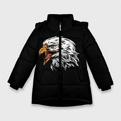 Детская зимняя куртка для девочки с принтом Орёл, цвет: 3D-черный, артикул: 10276237906065 — фото 1