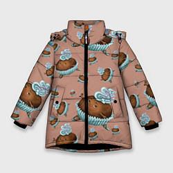 Куртка зимняя для девочки Шоколадка-балеринка цвета 3D-черный — фото 1