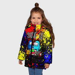 Куртка зимняя для девочки AMONG US цвета 3D-черный — фото 2