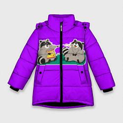 Куртка зимняя для девочки Еноты хавают цвета 3D-черный — фото 1
