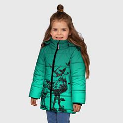 Куртка зимняя для девочки Олень из лесных символов цвета 3D-черный — фото 2