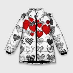 Куртка зимняя для девочки Сердца цвета 3D-черный — фото 1